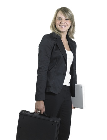 Studio photography of a young smiling business woman with dispatch case isolated on white Stock Photo - 11399143