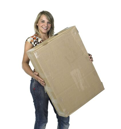 Studio photography of a blond girl lifting a old cardboard box isolated on white Stock Photo - 11469314