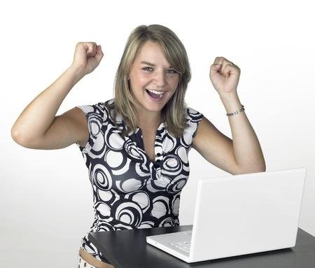 cute happy computing girl