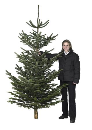 accouterment: young woman and christmas tree in white back