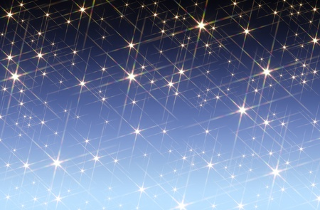 agleam: blue gradient background blotched with shiny stars Stock Photo