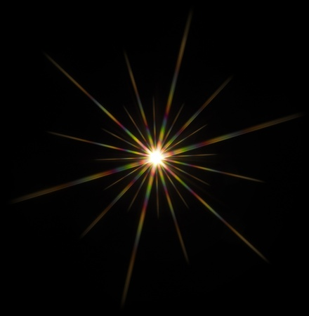 agleam: colorful flashy spotlight star made with optical star filter on camera