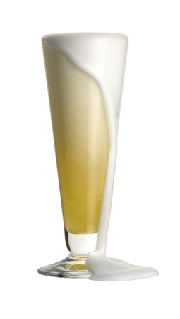ebullient: studio shot of ebullient beer in a drinking glass in front of white back