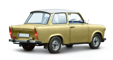 historic east german car named Trabant in white back with shadow