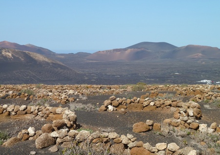landscape at Lanzarote, part of the Canary Islands in Spain photo