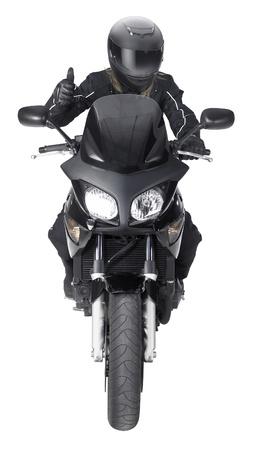 motociclista: frontal del disparo de un ciclista de moto con un gesto en la parte posterior del blanco