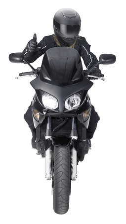 frontal shot of a motorbike with gesturing biker in white back