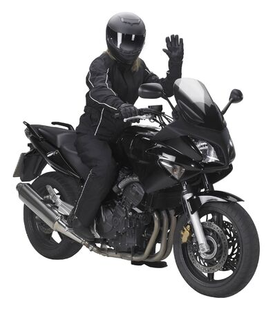 a motorbike with saluting biker in white back photo