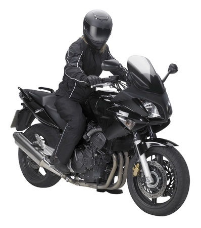 a motorbike with biker in white back