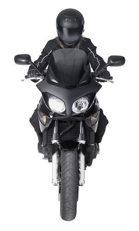 motociclista: frontal del disparo de una moto con motorista en blanco de nuevo Foto de archivo