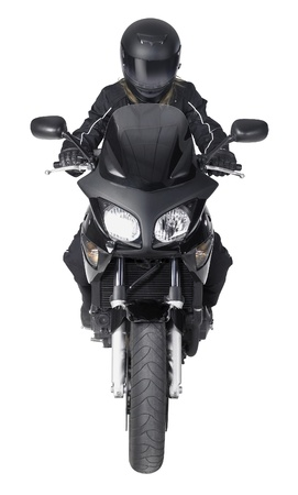 motorcyclist: frontal shot of a motorbike with biker in white back