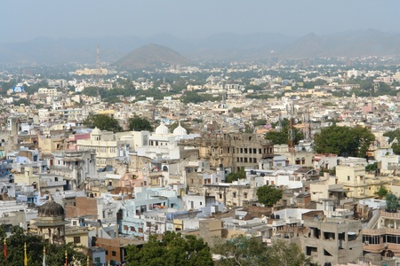 urbanized: aerial city view of Udaipur, located in Rajasthan, India
