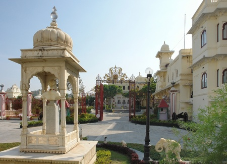 urbanized: scenery around the City Palace in Udaipur, a city located in Rajasthan, India