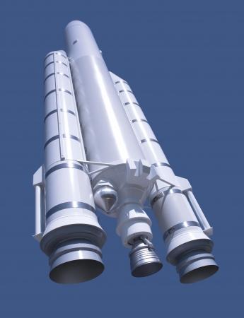 Modell einer Ariane-Rakete vor blauem Rücken Standard-Bild - 13425387