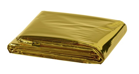 reflective space blanket on white background Stock Photo