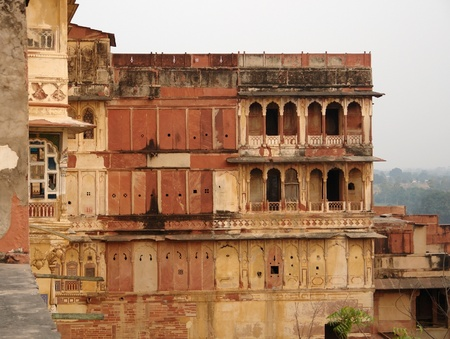 scenery around the City Palace in Karauli, a city in Rajasthan, India at evening time
