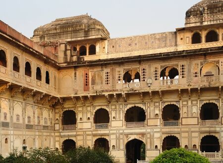 detail of the City Palace in Karauli, a city in Rajasthan, India