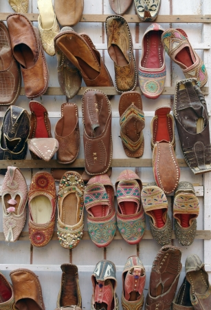 accouterment: lots of shoes in India