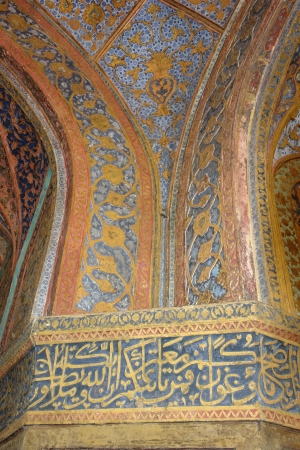 detail of the mausoleum named Taj Mahal in Agra, India at evening time photo