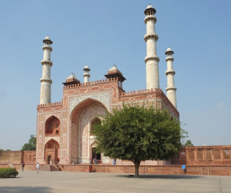 part of the mausoleum named Taj Mahal in Agra, India at evening time photo