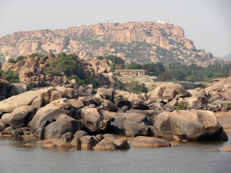 karnataka: scenery around Hampi, a city located in Karnataka, South West India at evening time