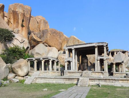 nandi: Nandi Temple at the Sacred Center around Hampi, a city located in Karnataka, South West India Stock Photo