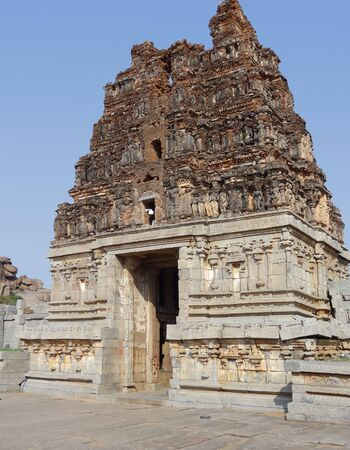 Vittala Temple at the Sacred Center around Hampi, a city located in Karnataka, South West India photo
