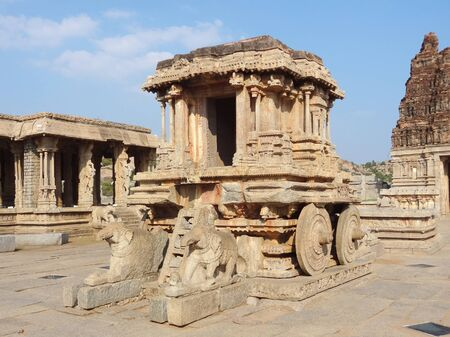 stone chariot at Vittala Temple of the Sacred Center around Hampi, a city located in Karnataka, South West India photo