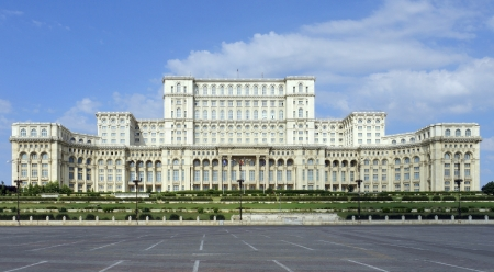 urbanized: Palace of the Parliament in Bucharest, a city located in Romania