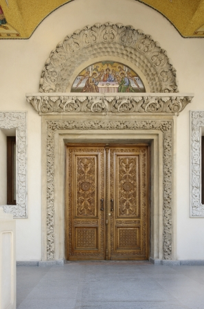 ornamented: ornamented entrance in Bucharest, a city located in Romania Stock Photo