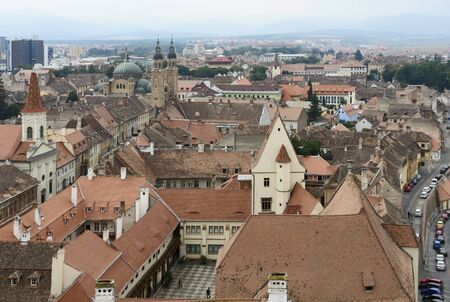 aerial view of Sibiu, a city in Romania photo