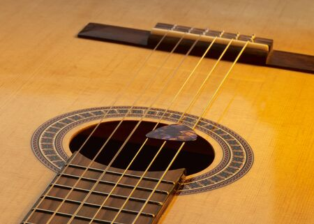 resonating: warm illuminated detail of a classic guitar