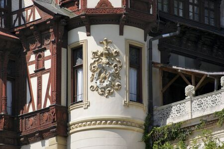 architectural detail at Peles Castle, a castle in the Carpathian Mountains in Romania