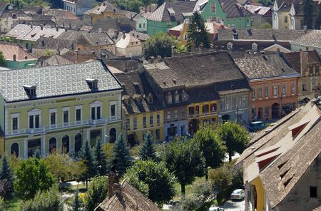 aerial view of Sighisoara, a city in Transylvania located in Romania Stock Photo - 15306514