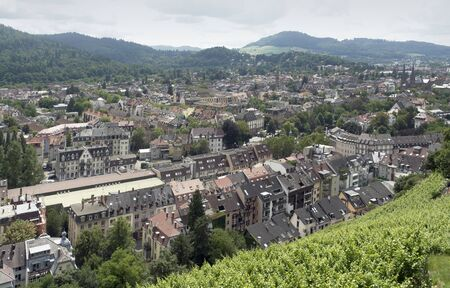 high angle view of Freiburg im Breisgau, a city in Baden-Wuerttemberg  Germany  in sunny ambiance Stock Photo - 15389974