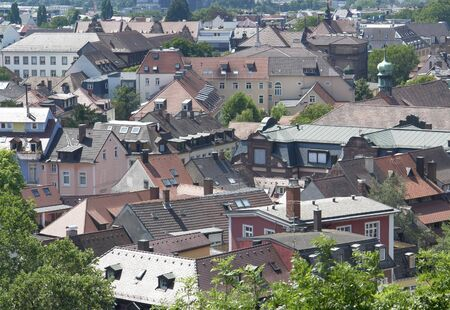 high angle view of Freiburg im Breisgau, a city in Baden-Wuerttemberg  Germany  in sunny ambiance Stock Photo - 15389976