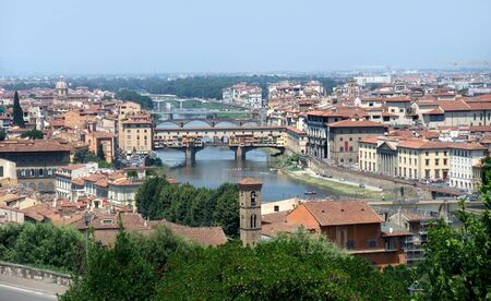 sunny illuminated panoramic view of Florence in Tuscany  Italy  photo