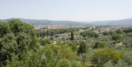 sunny illuminated panoramic view around Florence in Tuscany  Italy  photo