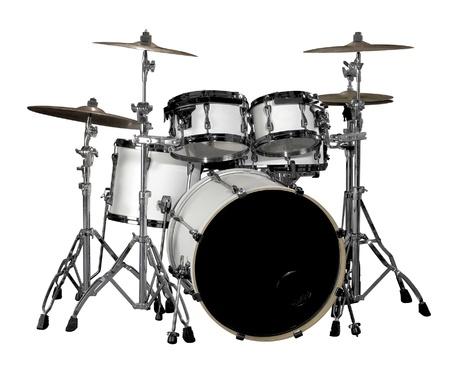 tambor: kit de bateria branco em volta branco