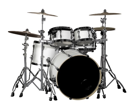 white drum kit in white back photo