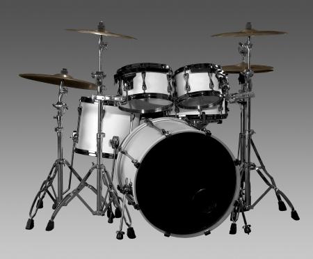 white drum kit in grey gradient back