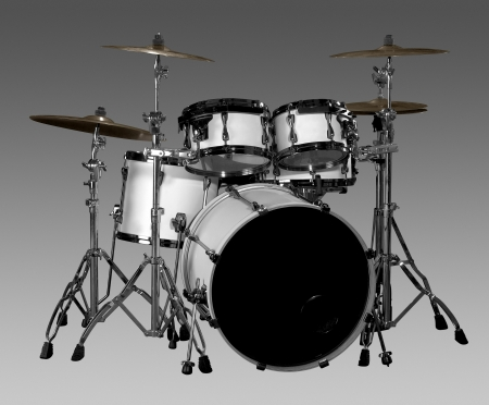 white drum kit in grey gradient back photo
