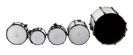 set of white drums in white back photo