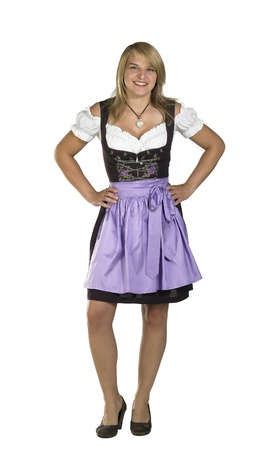 coquettish: coquettish blond woman wearing a traditional dress named dirndl
