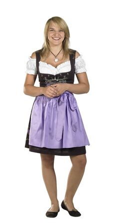 accouterment: blond woman wearing a traditional dress named dirndl in white back