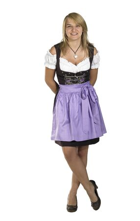 accouterment: waiting blond woman wearing a traditional dress named dirndl