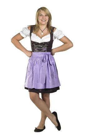 accouterment: expectant blond woman wearing a traditional dress named dirndl