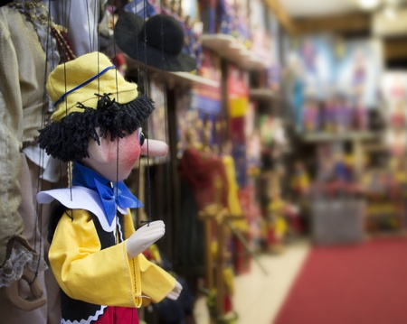 puppetry: detail of a marionette in Prague