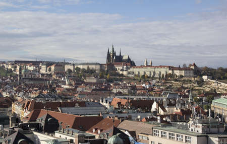 urbanized: aerial view of Prague, the capital of the Czech Republic at autumn time