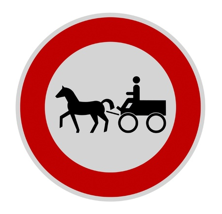 signalling: german traffic sign signalling carriage forbidden in white back